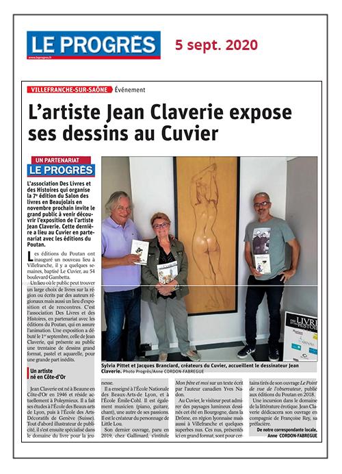 L'artiste Jean Claverie expose ses dessins au Cuvier - Le Progrès 05/09/2020
