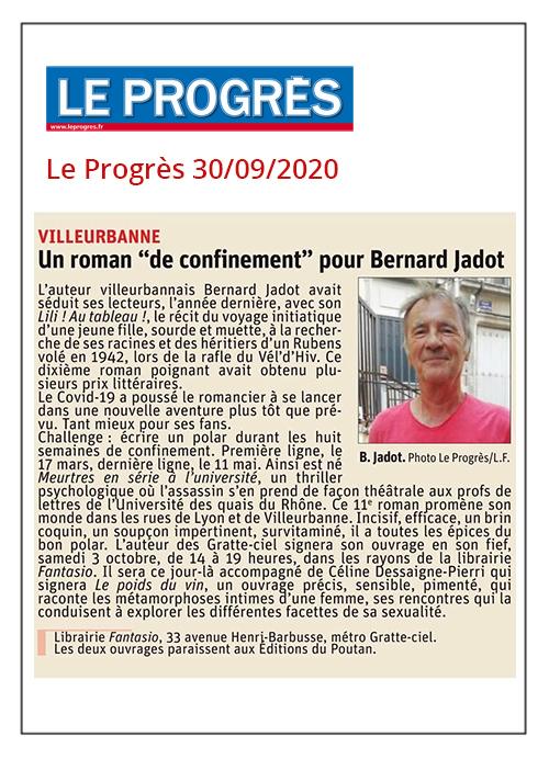 """Un roman """"de confinement"""" pour Bernard Jadot - Le Progrès 30/09/2020"""