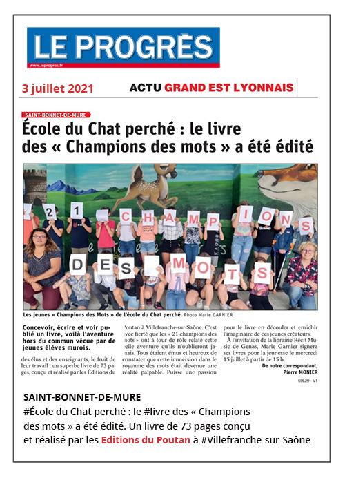 École du Chat perché : le livre des Champions des mots a été édité - Le Progrès 03/07/2021