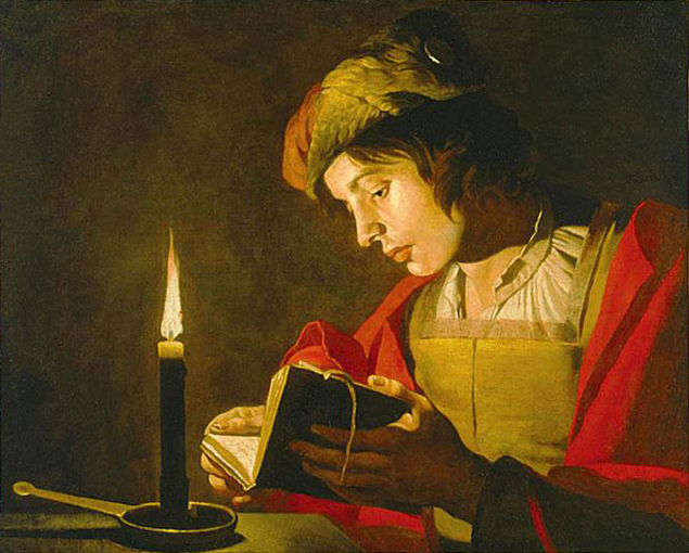 Matthias storm, young man reading by candelight 17thcent