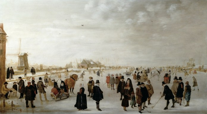 Winter Landscape on the River Ijesel near Kampen in the Netherlands, c.1615 (oi on panel)