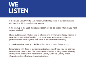 At the Bruce Grey Poverty Task Force we listen to people in our communities with lived and living experience of poverty. In the lead up to the 2018 municipal election, we asked people what do you want for your families? It turns out they want what people of all economic levels want: steady income, a home that is safe and affordable; good health care and representatives in government that work together with them to improve their well-being. Do you know what poverty looks like in Bruce County and Grey County? Consultations with those in our communities have re-affirmed how we address poverty in our communities. We have created a series of infographics reflecting poverty in our communities within Bruce County and Grey County. These infographics also reflect our strategic directions.