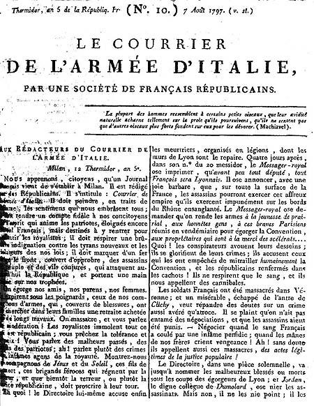 Le Courrier de l'Armée d'Italie, 7. kolovoza 1797.