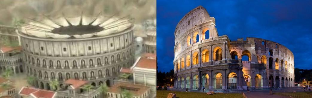 Koloseum u igri Grand Ages: Rome i Koloseum u stvarnosti