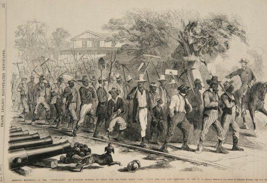 Jutarnje okupljanje contrabanda kod utvrde Monroe, objavljeno u Frank Leslie's Illustrated Newspaper, 2.11.1861.