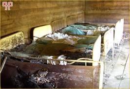 Ljeto 2008.: Spomen bolnica Gabrinovec prije obnove (unutrašnjost baraka)