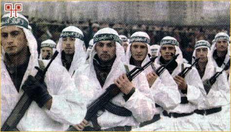 Muslimanska postrojba Armije BiH na paradi u Zenici