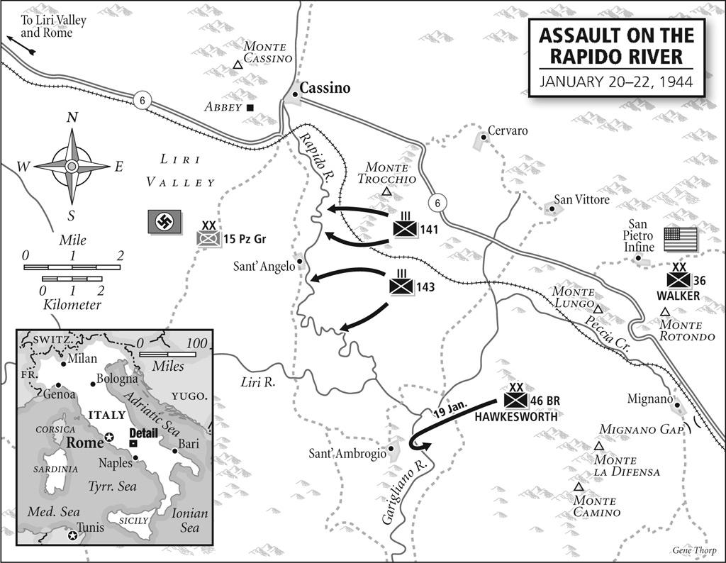 južni krak prvog napada na Cassino; američka 36. i britanska 46. divizija