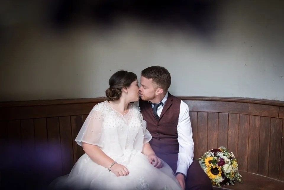 Bride and Groom on their Wedding Day at Bailbrook House in Bath