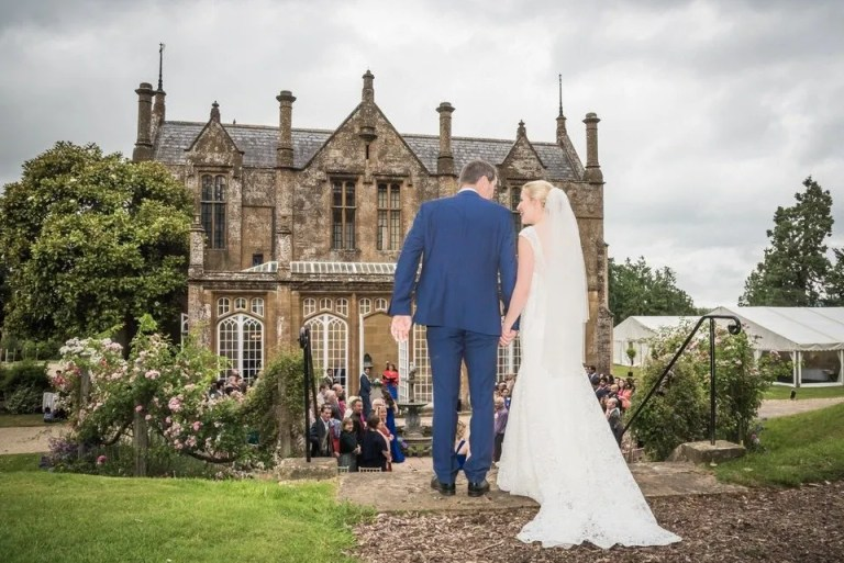 Walking down the isle at Dillington House in Somerset