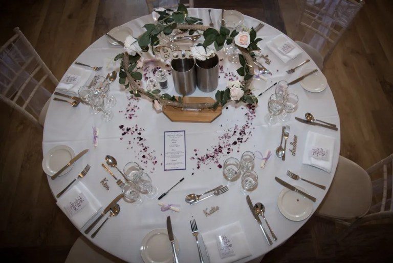 Eastwood Park wedding table settings