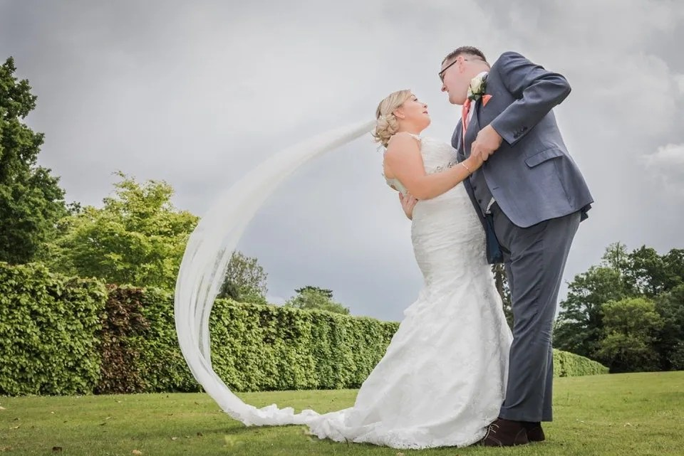Bride and Groom on their Wedding Day at the Grange Mecure Hotel in Bristol
