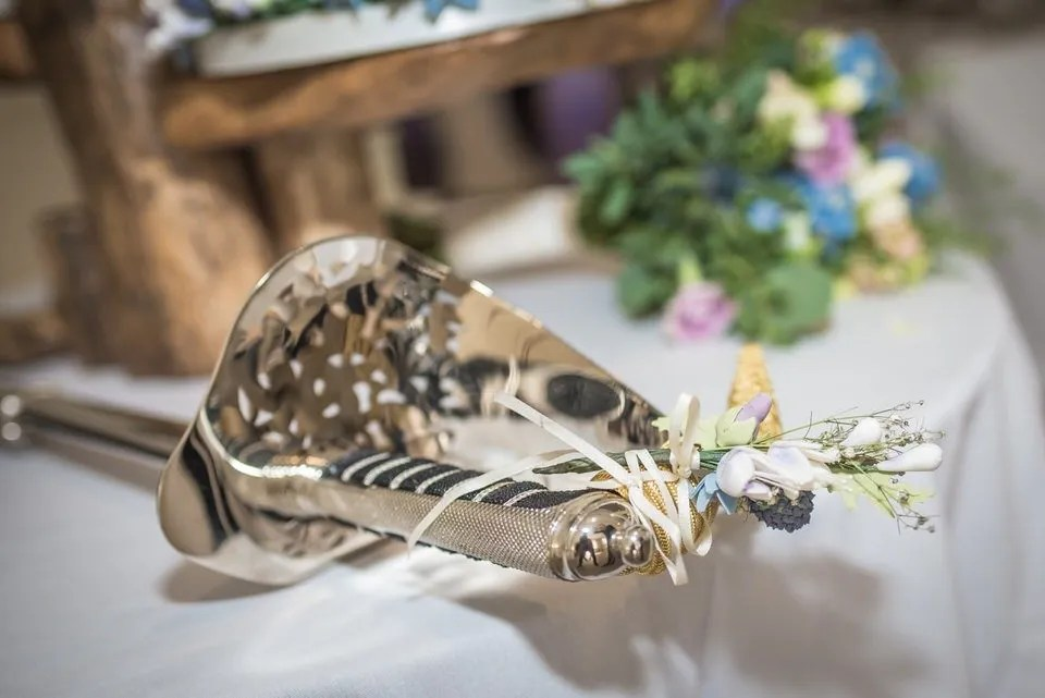 Wedding table decorations at Manor by the Lake in Gloucestershire