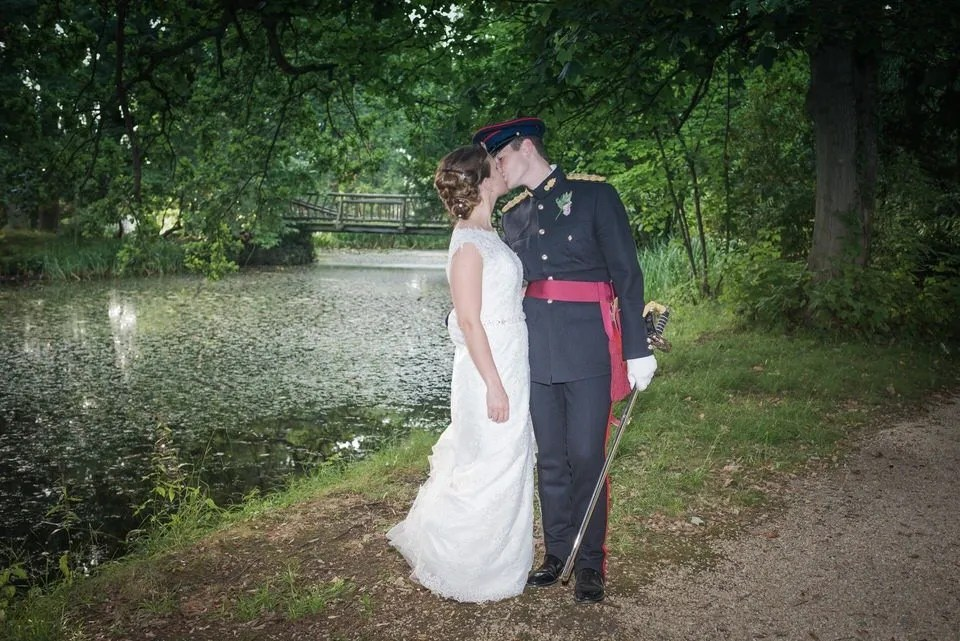 Bride and Groom on Their wedding day at Manor by the Lake in Gloucestershire