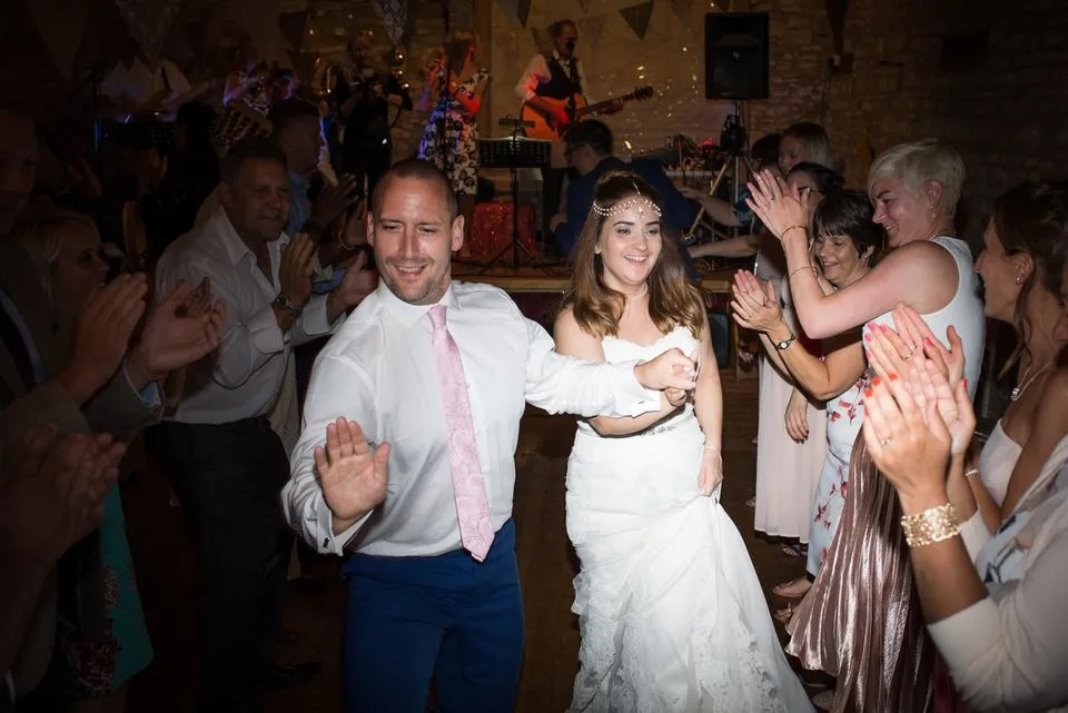 Bride and Groom on their Wedding Day at Mells Tithe Barn in Somerset
