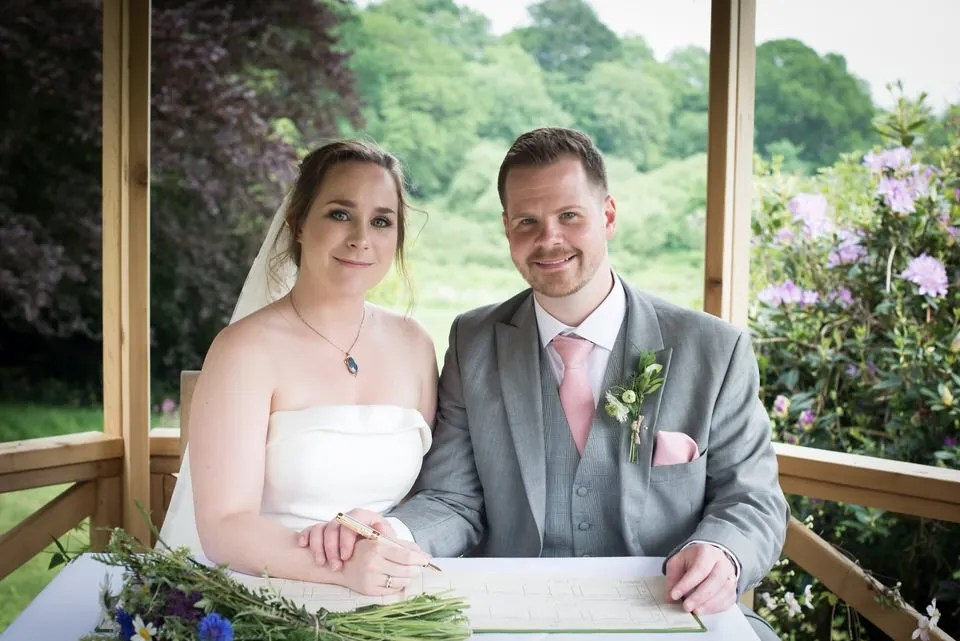 Bride and Groom on their Wedding Day at Pashcoe House in Devon