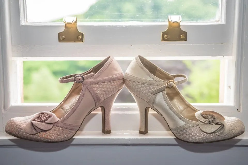 Wedding shoes at Pashcoe House in Devon