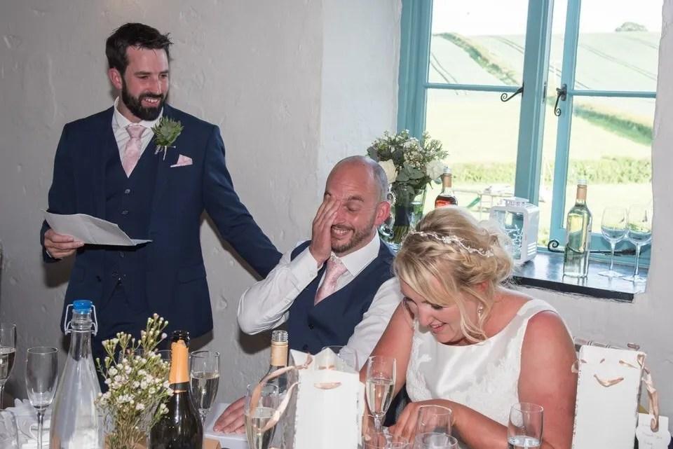 Wedding speeches at Priston Mill in Somerset