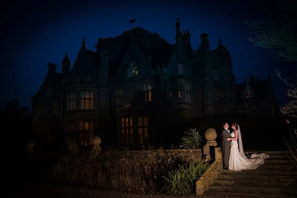 Bride and Groom on Their Wedding Day at Tortworth Court in Bristol