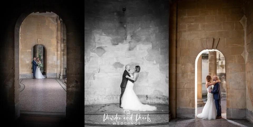 Bath wedding bride and groom in parade gardens