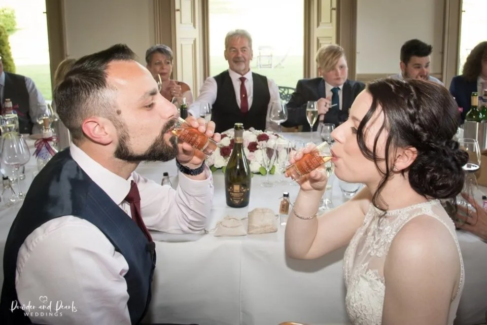 Crowcombe court wedding breakfast with the bride and groom