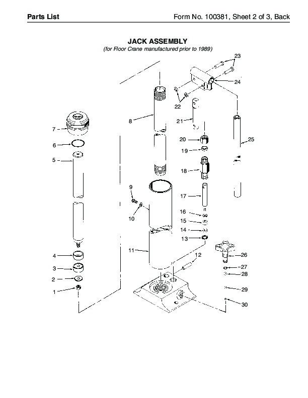 SPX OTC 1807 60299 014 00133 Floor Crane Assembly Owners