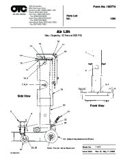 SPX OTC 1590 Lift Table Air Lift Owners Manual