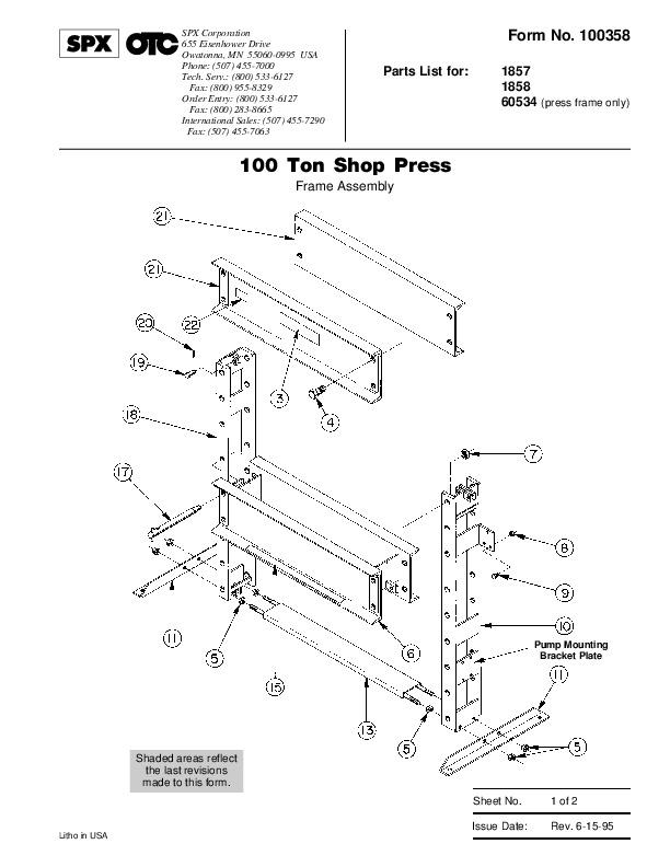 SPX OTC 1857 1858 60534 100 Ton Shop Press Frame Assembly