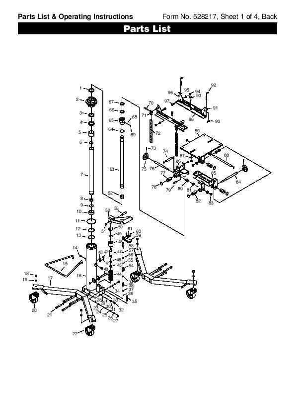 SPX OTC 1793 Lift Table High Lift Transmission Jack Owners