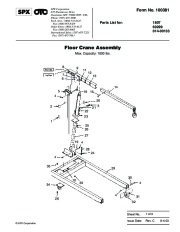 SPX OTC 1807 60299 014 00133 Floor Crane Assembly Owners