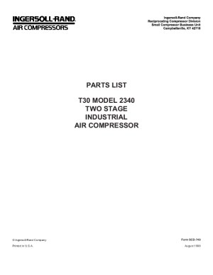 Ingersoll Rand T30 2340 Two Stage Air Compressor Parts