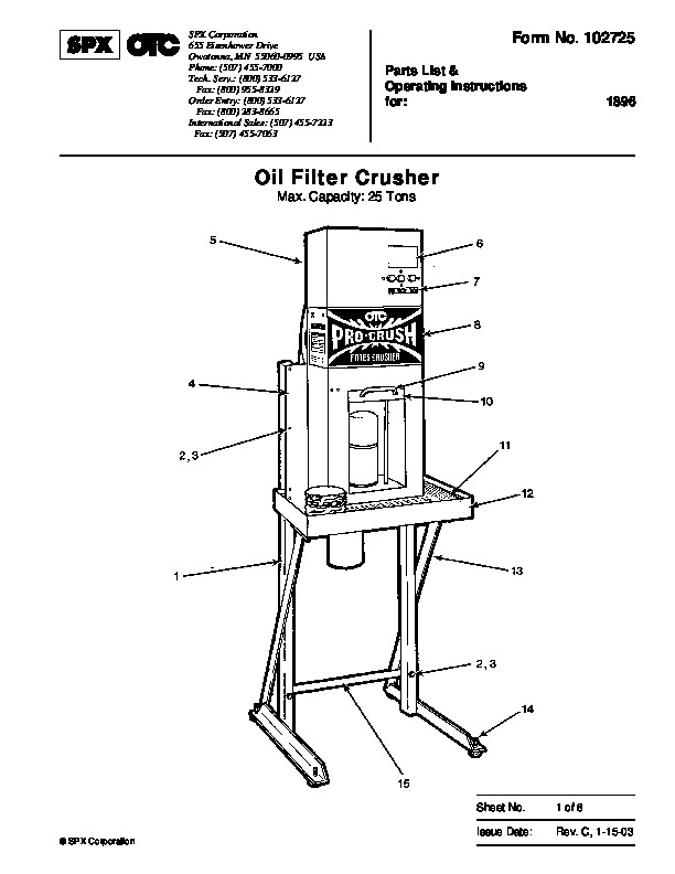 SPX OTC 1896 Oil Filter Crusher Max Capacity 25ns Parts List