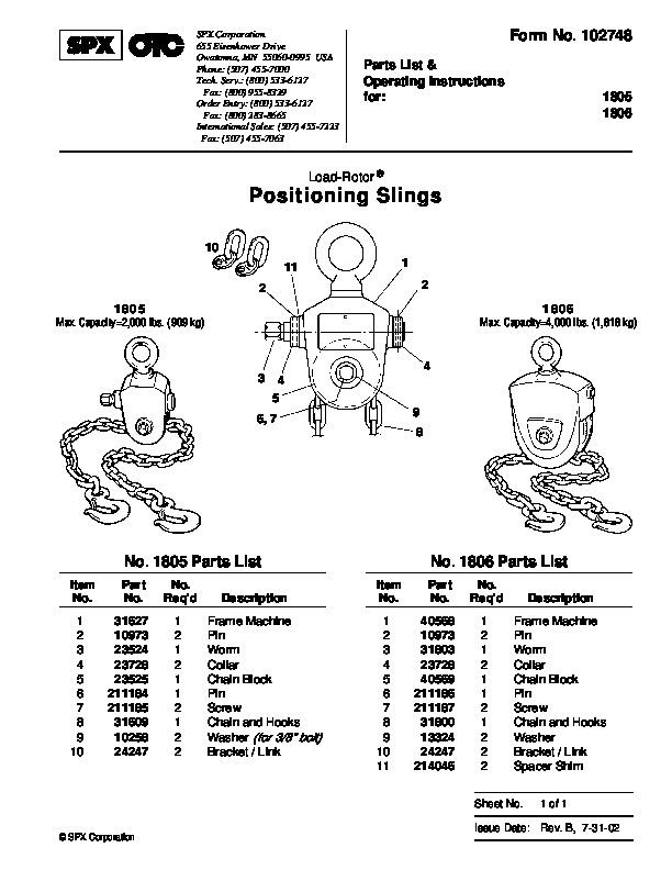 SPX OTC 1805 1806 Positioning Slings Max Capacity 2000 Lbs