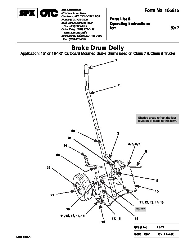 SPX OTC 5017 Brake Drum Dolly Application Owners Manual