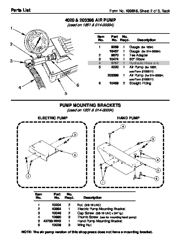 SPX OTC 014 00094 1850 014 00095 1851 1852 Shop Press