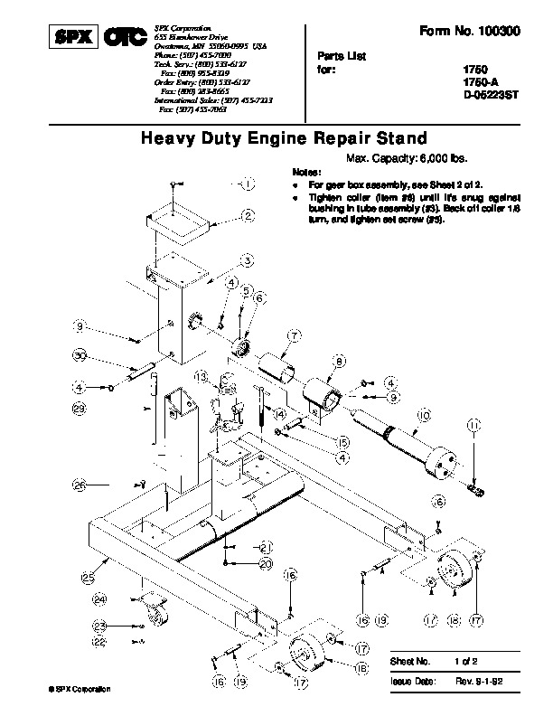 SPX OTC 1750 A D 05223ST Lift Table Heavy Duty Engine