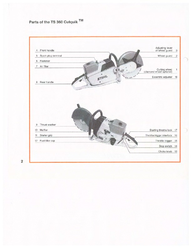 STIHL TS 360 Cut Off Saw Miter Circular Saw Owners Manual