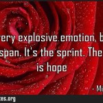 Fear is a very explosive emotion but it has a short life span Its the sprint
