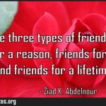 You have three types of friends in life Friends for a reason friends for a season