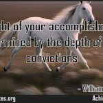 The height of your accomplishments is determined by the depth of your convictions