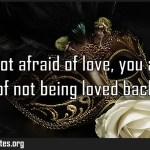 You are not afraid of love you are afraid of not being loved back Meaning
