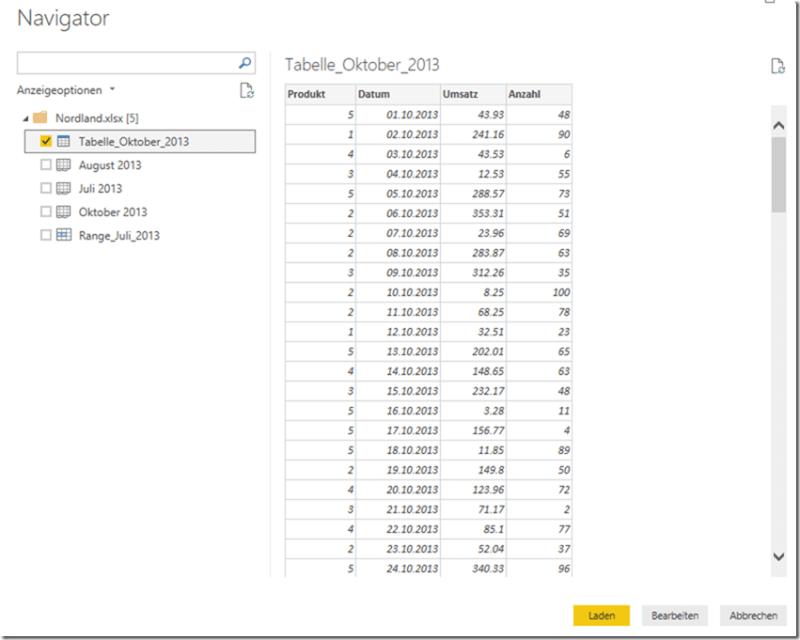 PBI Desktop - Datenvorschau Excel