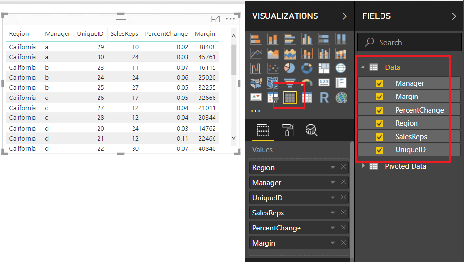 Data Fields Loaded Into Table