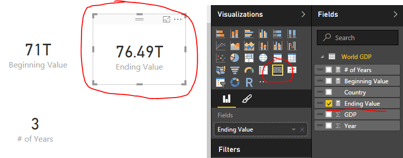 Ending Value Measure as Card Visual