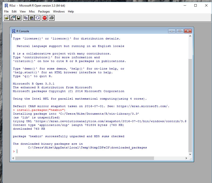 Install hexbin