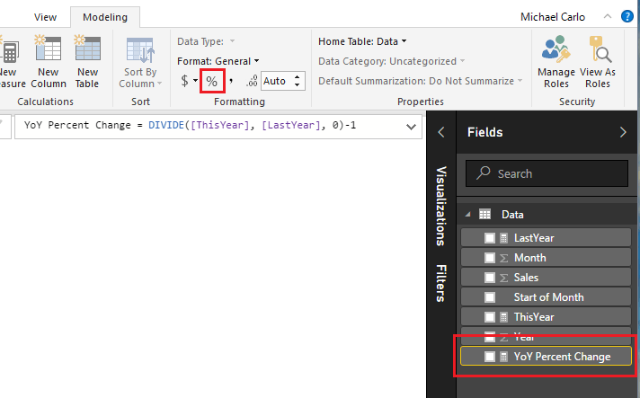 Change Measure Format
