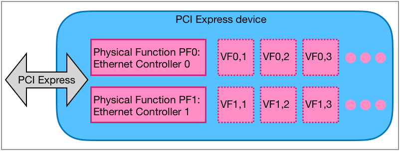 PCIe adapter with 2 physical functions (2 port Ethernet adapter).
