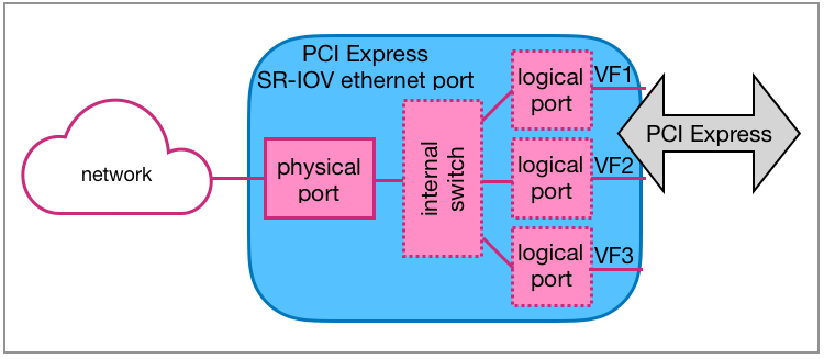 SR-IOV Ethernet port with internal switch and 3 logical ports.