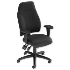 Influx Posture Chair Refurbished Kitchen Chairs Trexus High Back Asynchronous Black 500x500x420-530mm Ref Sp413845 - ...