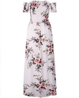 Floral Print Off-shoulder Slit Hem Short Sleeve Maxi Dresses